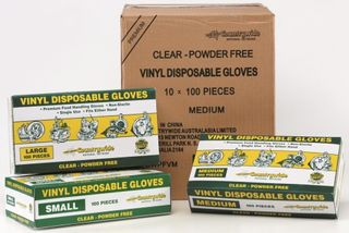 DISPOSABLE GLOVES MED P/FREE 100 x (10)*