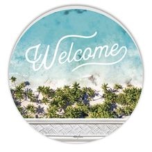 Round Timber Wall Art 48cm Bahamas WELCOME
