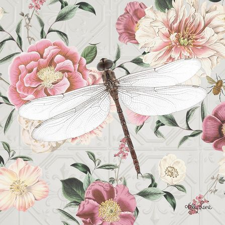 Canvas 20x20 Vintage Floral DRAGONFLY