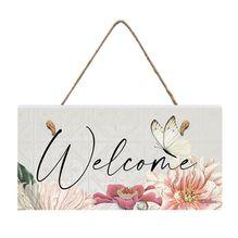 Hanging Plaque 15x30 3D Vintage Floral WELCOME