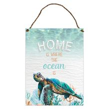 Hanging Tin Sign 30x40 Green Turtle HOME