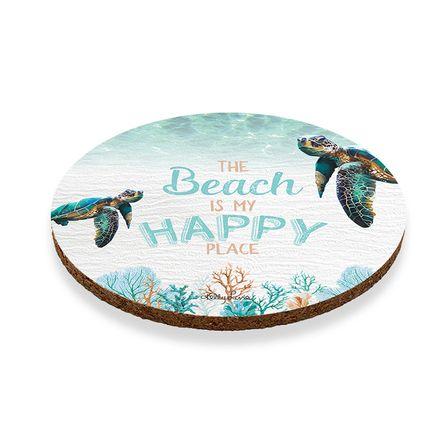 Coaster Round S/6 10cm Green Turtle HAPPY