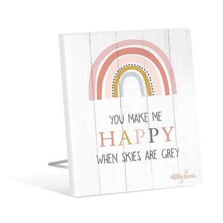 Sentiment Plaque 12x15 Rainbow HAPPY