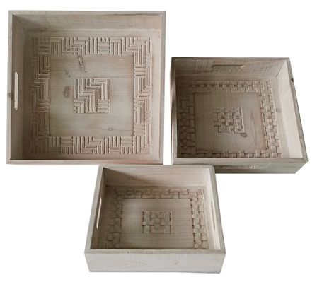 Serving Trays Set of 3 36x36x8 WHITE WAS