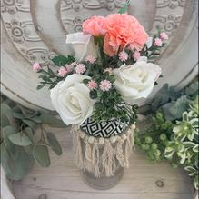 Vase ALS-054 Lge White/Pink Flowers