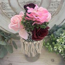 Vase ALS-054 Lge Maroon/Pink Flowers