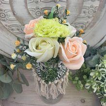 Vase ALS-054 Lge Yellow/Apricot Flowers