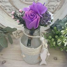 Vase ALS-0052 Sml Violet/White Flowers