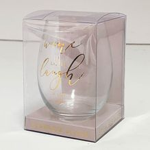 Stemless Glass Assorted Vogue LAUGH
