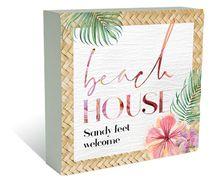 Plaque Block 40x40  Hibiscus BEACH
