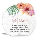 Sentiment 13x15 3D Hibiscus BELIEVE