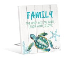 Sentiment Plaque 12x15 3D Turtles FAMILY