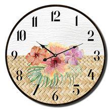 Clock 22cm Hibiscus RATTAN