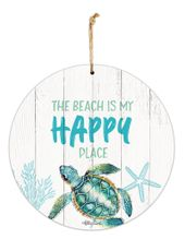 Hanging Tin Sign 30cm Turtles HAPPY
