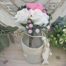 Vase ALS-0052 Sml White/Pink Flowers