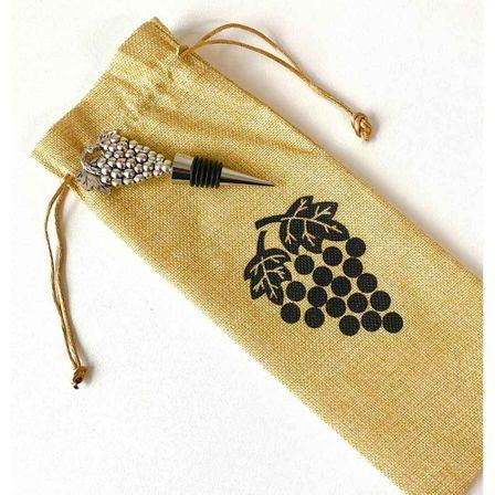 Wine Bag & Stopper Set 37x11x3 GRAPES