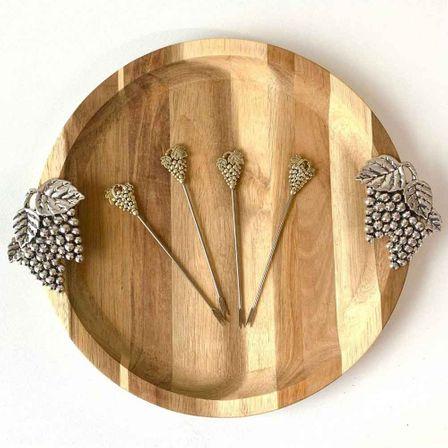 Platter Round & Aperitif Fork Set 31x27x