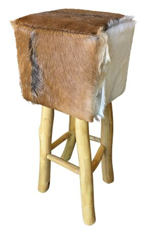 Stool Square Natural Hide TALL 35x35x79
