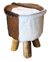 Stool Round Natural Hide LOW 30x30x40