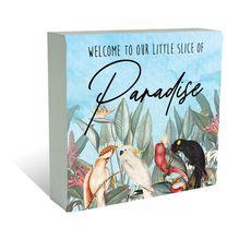 Plaque Block 40x40  Parrots PARADISE