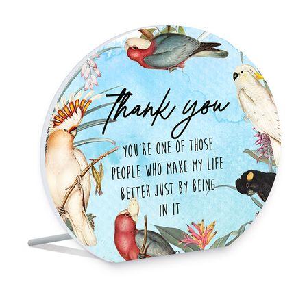 Sentiment Plaque 13x15 3D Parrots THANKFUL