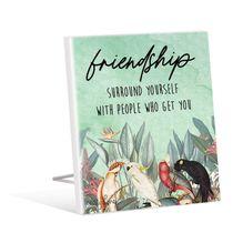 Sentiment Plaque 12x15 3D Parrots FRIEND