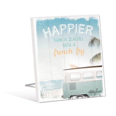 Sentiment Plaque 12x15 3D Wanderlust HAPPIER