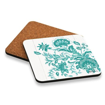 Coaster S/6 10x10 Country TURQUOISE