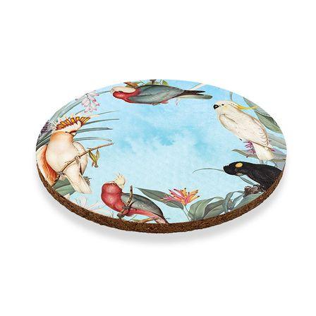 Coaster Round S/6 10cm Parrots BLUE