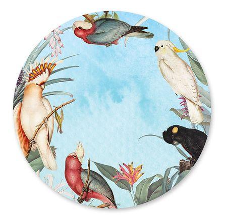 Placemat Round S/6 33cm Parrots BLUE