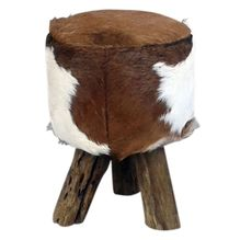 Stool Round Natural DARK 30cm