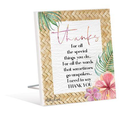 Sentiment Plaque 12x15 3D Hibiscus THANK