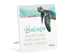 Sentiment 12x15 3D Sea Turtle BELIEVE