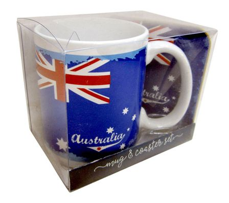 Mug & Coaster 4pc Gift Pk Tourism BLUE