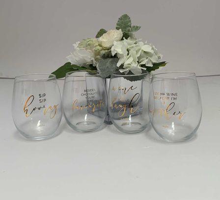 Stemless Glass 12PC Assorted Vogue STEML