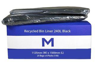 240Ltr Black Wheelie Bin Liner - 25 pack - 30MU