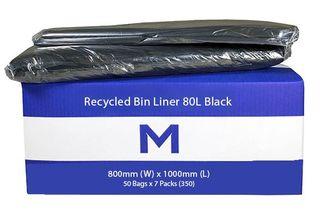 80Ltr Black Recycled Rubbish Bags 800x1000mm 25mu - 50pk