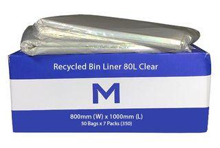80L Bin Liner Clear 50 pack