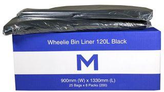 120ltr Black Wheelie Bin Liner - Pk 25