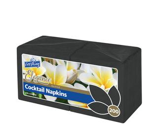 Elegance® Cocktail Napkins | Quarter Fold | Black | 100pk