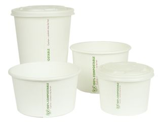 Hot container white PLA-lined 16oz - 25 units/slv