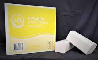 HD Premium White V-Fold 1ply 250shts x 16pks