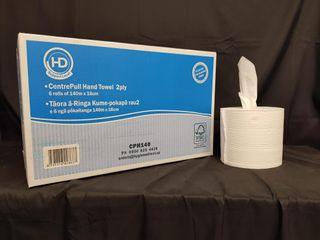 HD CentrePull 2ply White Hand Towel 140m x 6 rolls