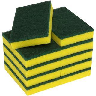 "Scourer Sponge Green/Yellow 10pk 6""x4"""