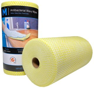 Antibacterial HD Wavy Wipes - Yellow 300x500mm, 90 sheets