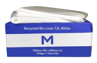 Recycled Rubbish Bin Liner 72L White 40mu - 50 per bundle