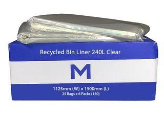 240L Clear Wheelie Bin Liner 25pk