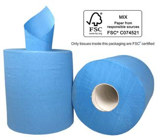 M Centrefeed 2ply Foodsafe Blue 180m  x 6