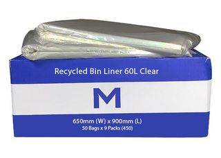 60ltr Recycled Clear Bags 650x900mm - Pk 50