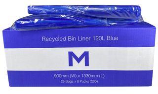 120ltr Blue Wheelie Bin liner 1330mm x 900mm - Pk 25